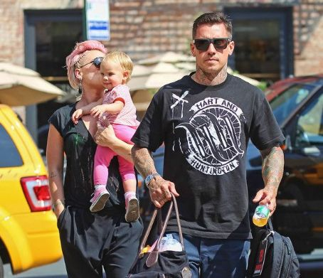 Pink and Carey Hart spotted out with their daughter Willow in New York City, New York on July 11, 2012