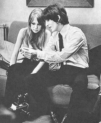 Pattie Boyd  and George meet Ravi Shankar for first time.