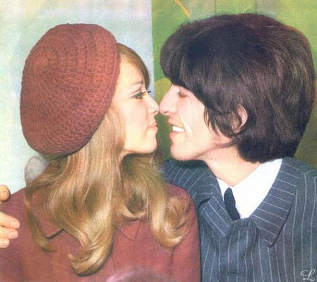 Pattie Boyd Pattie and George at press reception day after marrying.