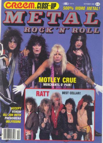 Vince Neil, Tommy Lee, Nikki Sixx, Mick Mars - Creem Close-Up Metal Magazine Cover [United States] (October 1985)