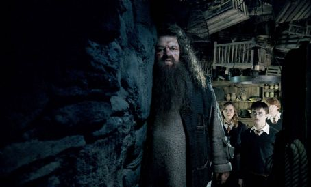"Robbie Coltrane - (L-r) ROBBIE COLTRANE as Rubeus Hagrid, EMMA WATSON as Hermione Granger, DANIEL RADCLIFFE as Harry Potter and RUPERT GRINT as Ron Weasley in Warner Bros. Pictures' fantasy 'Harry Potter and the Order of the Phoenix."" Photo courtesy of Warner"