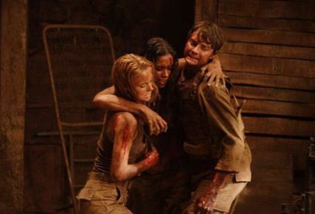Daniella Alonso Jessica Stroup as Amber Johnson,  as Missy Martinez and Michael McMillian as David 'Napoleon' Napoli in The Hills Have Eyes 2 - 2007