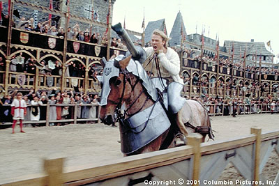 A Knight's Tale - Amid the clash of hundreds of pounds of flesh and force, rookie squire William Thatcher (Heath Ledger) faces the ultimate test of gallantry-and discovers if he is the stuff of which legends are made in Columbia's A Knight's Tale - 2001