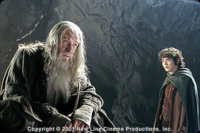 Gandalf Ian McKellen as  and Elijah Wood as Frodo in New Line's The Lord of The Rings: The Fellowship of The Ring - 2001
