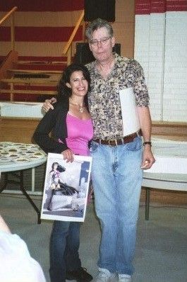 Stephen King ,famous horror novelist, with Cookie Cutter Girl, POP SUPERHERO at the Governor's Banquet