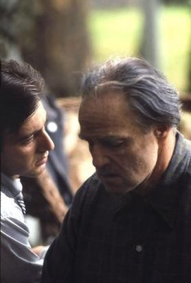 The Godfather Al Pacino and Marlon Brando in