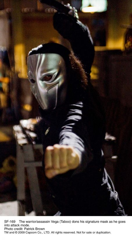 The warrior/assassin Vega (Taboo) dons his signature mask as he goes into attack mode. Photo credit: Patrick Brown
