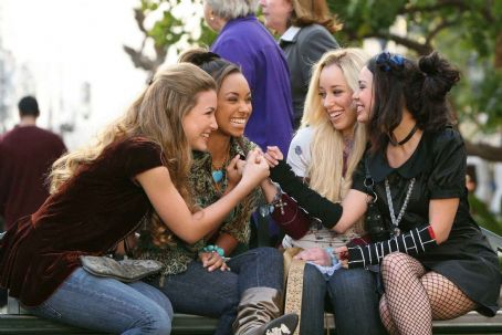 Nathalia Ramos Yasmin (), Sasha (Logan Browning), Cloe (Skyler Shaye) and Jade (Janel Parrish) make a pinky promise in BRATZ. Photo credit: Michael Desmond