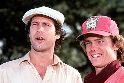 Michael O'Keefe  and Chevy Chase in Caddyshack