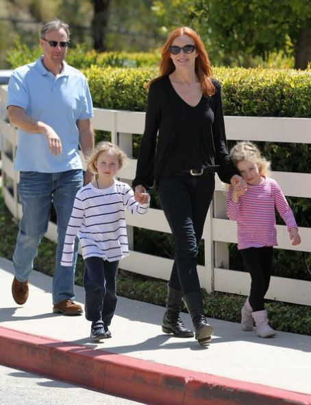 Marcia Cross had a busy day searching for schools with her husband Tom Mahoney and twin girls Eden and Savannah in the Los Angeles area of California on April 6, 2012
