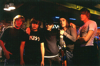 James DeBello Sam Huntington, Edward Furlong, Director Adam Rifkin, James De Bello and Giuseppe Andrews on the set of Detroit Rock City