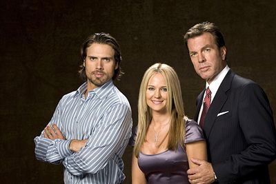 Sharon Case  with her co-stars Joshua Morrow and Peter Bergman