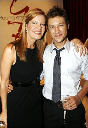 Michelle Stafford  with on-screen son Michael Graziadei