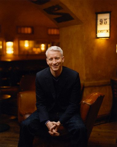 Anderson Cooper  looking relaxed and happy.