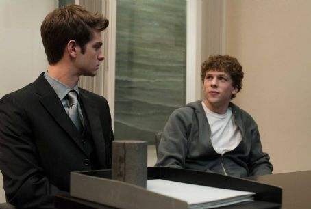 The Social Network Andrew Garfield, left, and Jesse Eisenberg in Columbia Pictures' '.' Photo By: Merrick Morton
