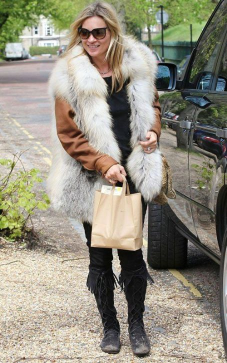 Kate Moss' Furry London Outing