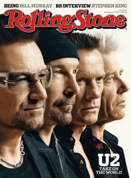 Bono, The Edge, Adam Clayton, Larry Mullen Jr. - Rolling Stone Magazine Cover [United States] (6 November 2014)
