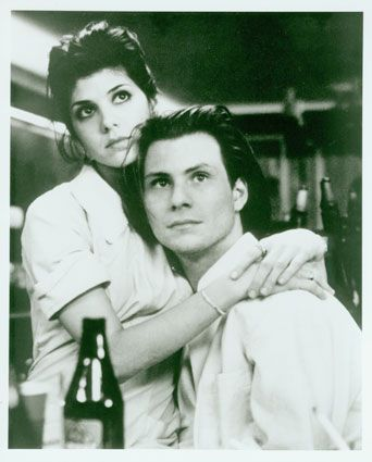 Caroline Christian Slater and Marisa Tomei in Untamed Heart (1993).