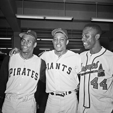 Willie Mays - Willie with Roberto Clemente & Hank Aaron