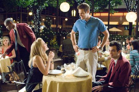 "Molly (Left to right)  (Alice Eve) runs into her handsome ex, Cam (Geoff Stults) to the dismay of Kirk (Jay Baruchel), an average Joe who just can't believe that she has fallen for him the DreamWorks Pictures comedy ""She's out of My Leagu"