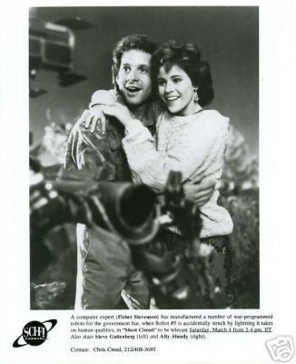 Ally Sheedy Steve Guttenberg and  in Short Circuit Lobby Card (1986)