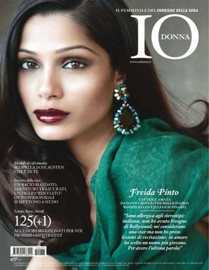 Freida Pinto - Io Donna Magazine Cover [Italy] (September 2011)