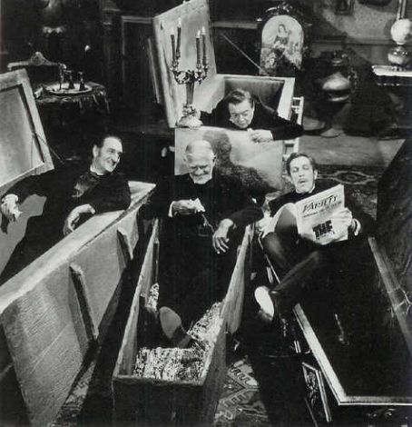 Peter Lorre , Basil Rathbone, Boris Karloff,and Vincent Price