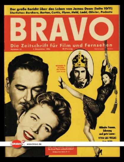 Errol Flynn, Cornell Borchers - Bravo Magazine Cover [Germany] (9 December 1956)