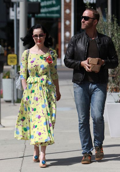 Dita Von Teese and Makeup Artist Gregory Arlt Dine Out in West Hollywood