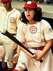 Tom Hanks as Jimmy Dugan and Rosie O'Donnell as Doris Murphy in A League of Their Own (1992)