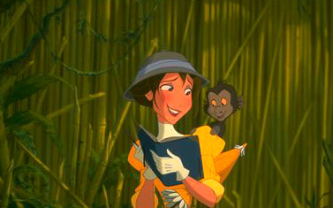 Tarzan Jane sketches a young, playful baboon in Disney's  - 1999