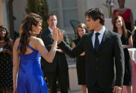 Damon Salvatore Ian Somerhalder As  And Nina Dobrev As Elena Gilbert In The Vampire Diaries (2009)