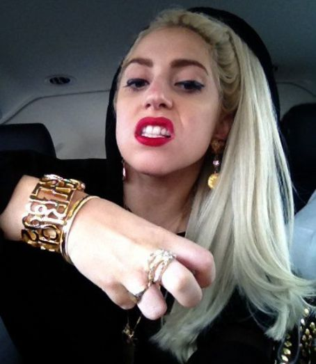 Lady Gaga Shows Off Brass Paw Ring Present