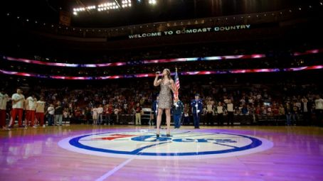 Ayla Brown - National Anthem before 76ers game, Wells Fargo Center, Philadelphia, PA, April 4, 2012