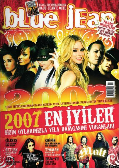 Avril Lavigne, Rihanna, Hayko Cepkin, Justin Timberlake - blue jean Magazine Cover [Turkey] (January 2008)