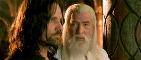 Gandalf left to right:  'Aragorn' (Viggo Mortensen) and '' (Ian McKellen) ponder the fate of Frodo and Sam in New Line Cinema's epic film, The Lord of the Rings: The Return of the King.