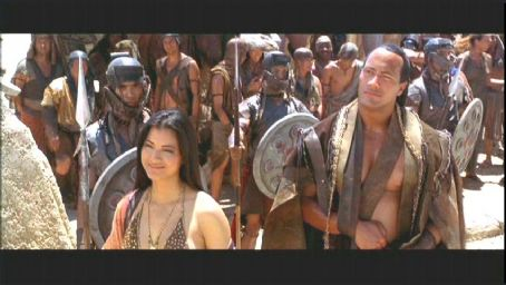 Cassandra Kelly Hu and The Rock in Universal's action adventure movie The Scorpion King - 2002