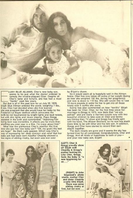 Elijah Allman Gregg Allman, CHER & Husband Gregg Allman Celebrate the Birth of Son Elijah B lue with Sister Chastity 1976