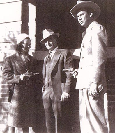 Jan Clayton  with husband,Russell Hayden, and father O. M.