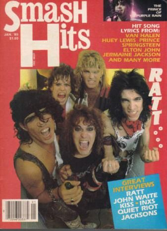 Warren Demartini, Stephen Pearcy, Juan Croucier, Bobby Blotzer, Robbin Crosby - Smash Hits Magazine Cover [United States] (January 1985)