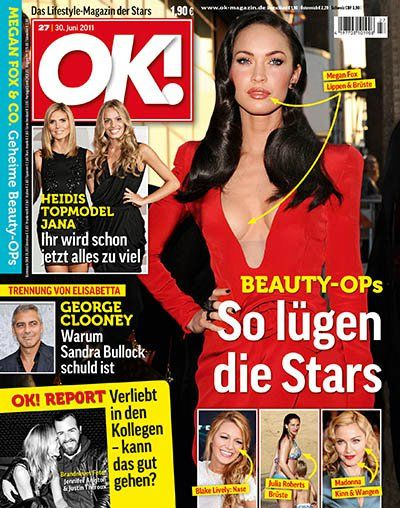 Heidi Klum, Megan Fox, George Clooney, Madonna, Blake Lively, Julia Roberts - OK! Magazine Cover [Germany] (30 June 2011)
