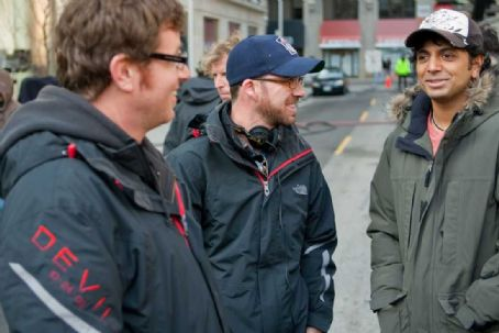 Devil Director John Erick Dowdle and Drew Dowdle with M. Night Shyamalan on the set of .