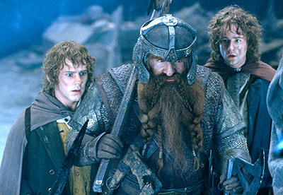 John Rhys-Davies Dominic Monaghan as Merry,  as Gimli the dwarf and Billy Boyd as Pippin in New Line's The Lord of The Rings: The Fellowship of The Ring - 2001