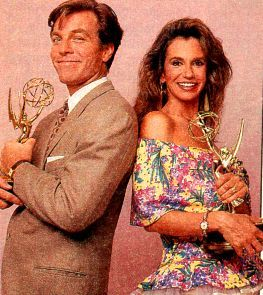Peter Bergman  and Jess Walton accept emmy for The Young and the Restless