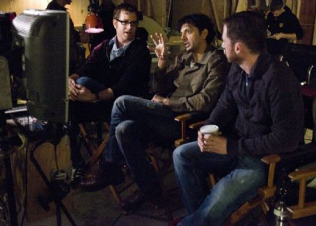 Devil Director John Erick Dowdle, M. Night Shyamalan and Drew Dowdle on the set of .