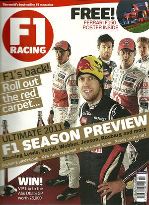 Lewis Hamilton, Sebastian Vettel, Jenson Button, Nico Rosberg, Mark Webber - F1 Racing Magazine Cover [United Kingdom] (January 2011)