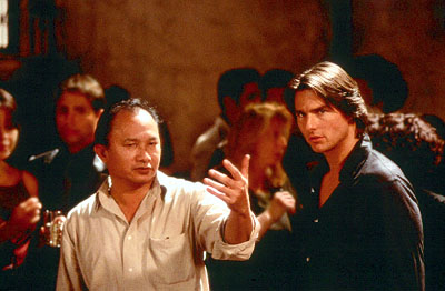 John Woo Director  and Tom Cruise on the set of Paramount's Mission Impossible 2 - 2000