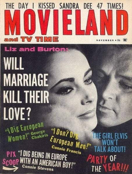 Elizabeth Taylor, Richard Burton - Movieland Magazine Cover [United States] (November 1963)