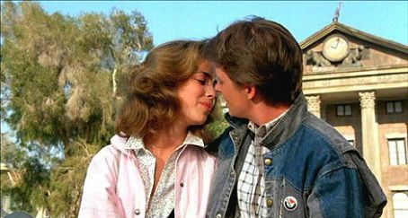Claudia Wells Michael J. Fox and  in Back to the Future (1985)