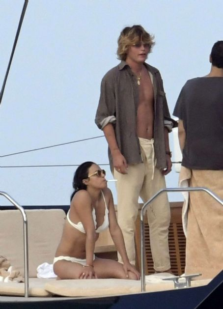 Michelle Rodriguez in White Bikini at the boat in Italy